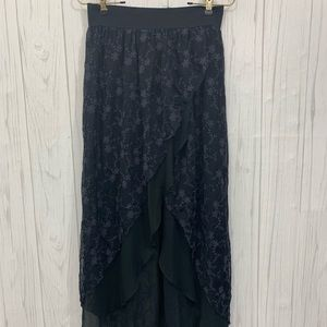 FREE PEOPLE BLACK LACE OPEN MAXI SKIRT SMALL